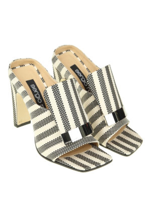 Sergio Rossi: mules shoes online - Bicolour canvas open toe mules