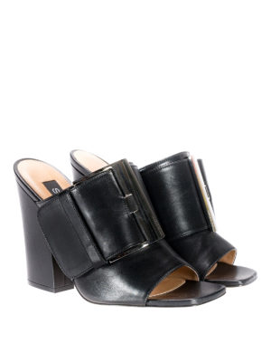 Sergio Rossi: mules shoes online - sr Buckle black napa leather mules