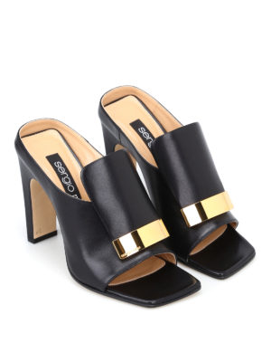 Sergio Rossi: mules shoes online - sr1 napa leather black mules
