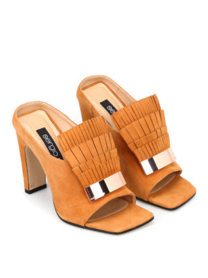 Sergio Rossi: mules shoes online - sr1 suede fringed mules
