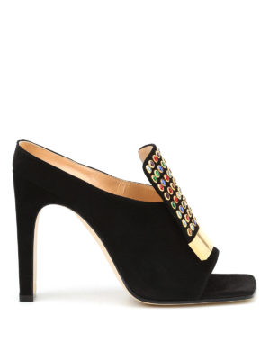 Sergio Rossi: mules shoes - Open toe embellished suede mules
