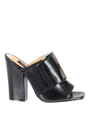 Sergio Rossi: mules shoes - sr Buckle black napa leather mules