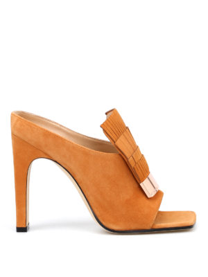 Sergio Rossi: mules shoes - sr1 suede fringed mules