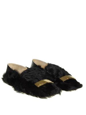 SERGIO ROSSI: Mocassini e slippers online - Slipper Sr1 in pelle e pelliccia di pecora