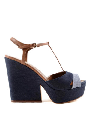 Sergio Rossi: sandals - Leather and denim sandals