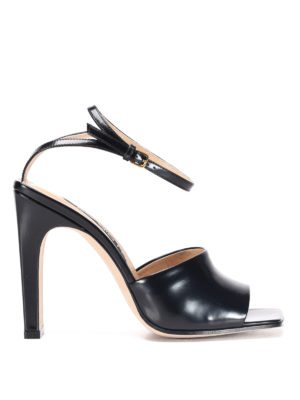 Sergio Rossi: sandals - Leather sandals with stiletto heel