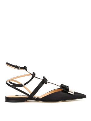Sergio Rossi: sandals - Logo plaque satin flat sandals