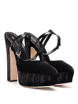 Sergio Rossi: sandals online - Freda wedge velvet sandals