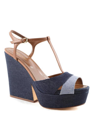 Sergio Rossi: sandals online - Leather and denim sandals
