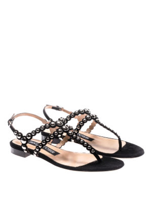 Sergio Rossi: sandals online - Stud suede thong flat sandals