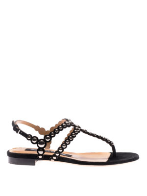 Sergio Rossi: sandals - Stud suede thong flat sandals