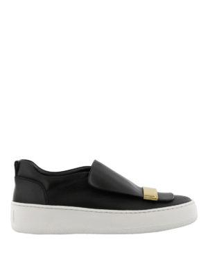 SERGIO ROSSI: sneakers - Slip-on Addict con placca dorata