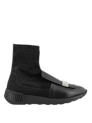 SERGIO ROSSI: sneakers - Sneaker alta in nappa e lurex