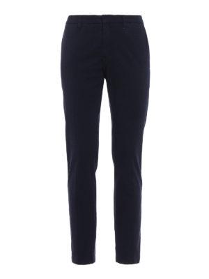 Siviglia: casual trousers - Blue jacquard cotton trousers
