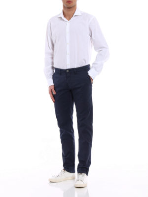 Siviglia: casual trousers online - Blue cotton slack trousers