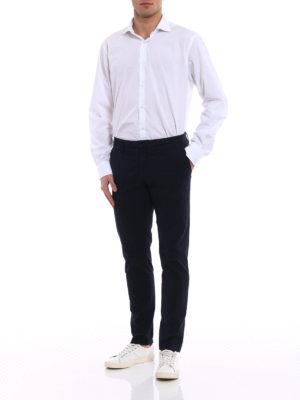 Siviglia: casual trousers online - Blue jacquard cotton trousers