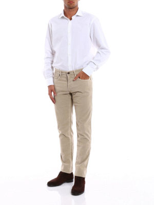 Siviglia: casual trousers online - Micro patterned corduroy trousers