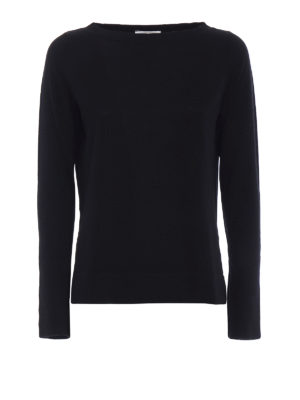 Snobby Sheep: boat necks - Black silk and cashmere sweater