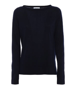 Snobby Sheep: boat necks - Blue silk and cashmere sweater