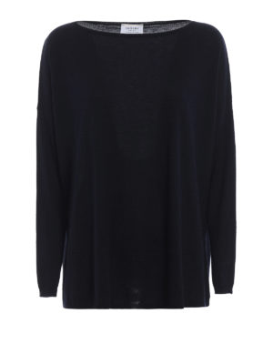 SNOBBY SHEEP: maglia collo a barchetta - Pull blu scuro a barca in cashmere e seta