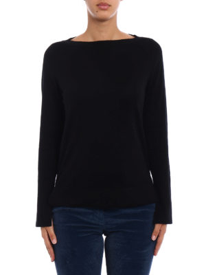 Snobby Sheep: boat necks online - Black silk and cashmere sweater