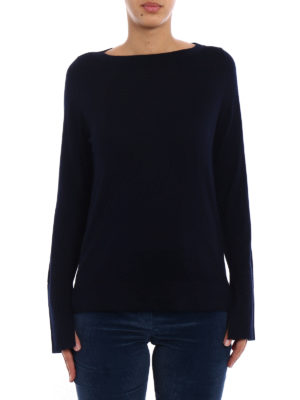 Snobby Sheep: boat necks online - Blue silk and cashmere sweater