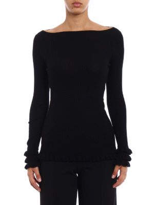 Snobby Sheep: boat necks online - Ruched ribbed silk cashmere sweater