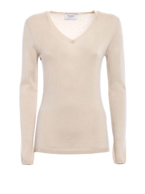 Snobby Sheep: v necks - Beige silk cashmere V-neck sweater