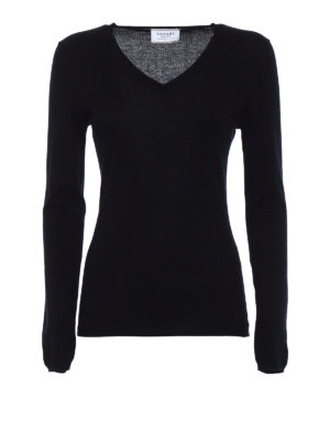 Snobby Sheep: v necks - Black silk cashmere V-neck sweater