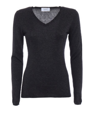 Snobby Sheep: v necks - Grey silk cashmere V-neck sweater