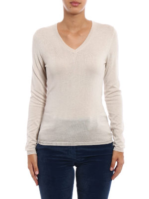 Snobby Sheep: v necks online - Beige silk cashmere V-neck sweater