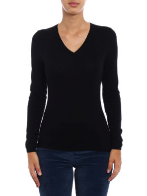 Snobby Sheep: v necks online - Black silk cashmere V-neck sweater