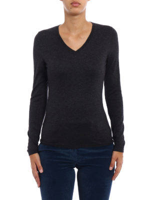 Snobby Sheep: v necks online - Grey silk cashmere V-neck sweater