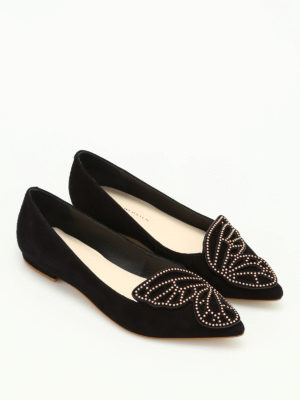 Sophia Webster: flat shoes online - Bibi Stud Butterfly suede flats