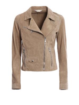 Stazione Centrale: leather jacket - Beige suede biker style jacket