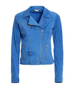 Stazione Centrale: leather jacket - Blue suede biker style jacket