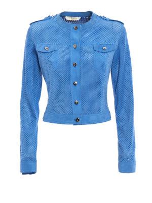 Stazione Centrale: leather jacket - Blue suede denim style jacket