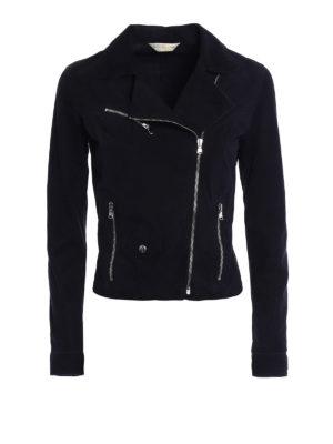 Stazione Centrale: leather jacket - Dark blue suede biker style jacket
