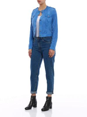 Stazione Centrale: leather jacket online - Blue suede denim style jacket