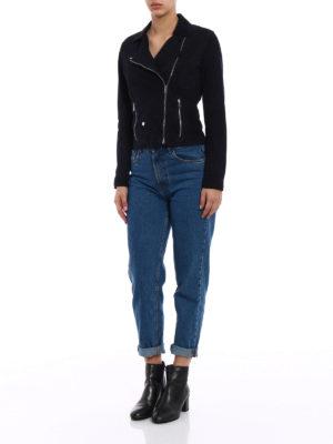 Stazione Centrale: leather jacket online - Dark blue suede biker style jacket