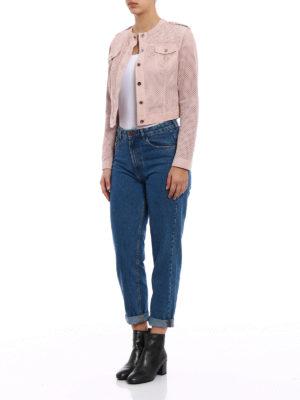 Stazione Centrale: leather jacket online - Pink suede denim style jacket