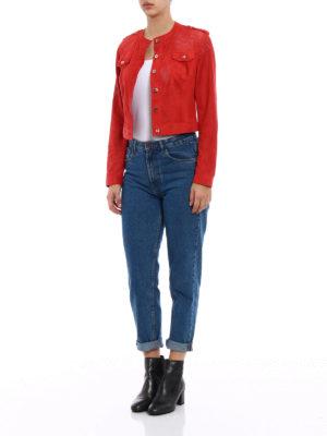 Stazione Centrale: leather jacket online - Red suede denim style jacket
