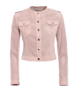 Stazione Centrale: leather jacket - Pink suede denim style jacket