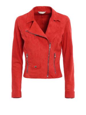 Stazione Centrale: leather jacket - Red suede biker style jacket
