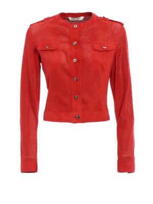 Stazione Centrale: leather jacket - Red suede denim style jacket