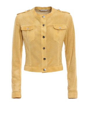 Stazione Centrale: leather jacket - Yellow suede denim style jacket