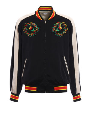 Stella Mccartney: bombers - Floral embroidered satin bomber