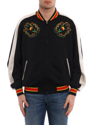 Stella Mccartney: bombers online - Floral embroidered satin bomber