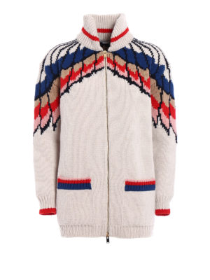 Stella Mccartney: cardigans - Feathers intarsia wool cardigan