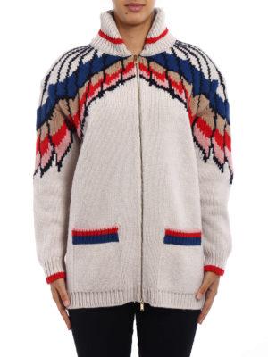 Stella Mccartney: cardigans online - Feathers intarsia wool cardigan